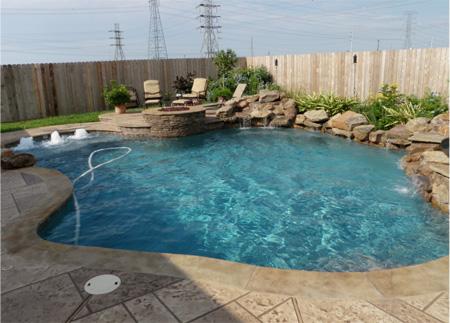 Complete Pool U0026 Spa Includes: Dimensions: 33u0027 X 23u0027 Area: 463 Sq.u0027  Perimeter: 96 LF Decking: 500 Sq.u0027 8u0027 X 5u0027 Freeform Spa Raised 12u201d